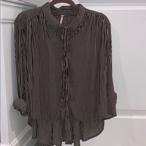 Free People striped blouse with tie accent